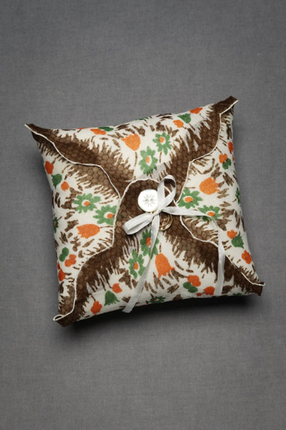 Brown Floral Tied-And-True Ring Pillow | BHLDN