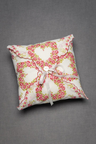 Pink Floral Tied-And-True Ring Pillow | BHLDN