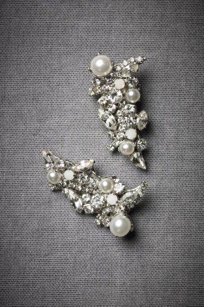 Erickson Beamon Silver Encrusted Crescent Earrings | BHLDN