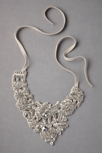 neutral Silvery Lace Necklace | BHLDN