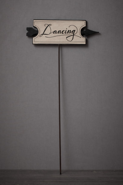 black & cream This-Way-To-The-Dance Floor Sign | BHLDN