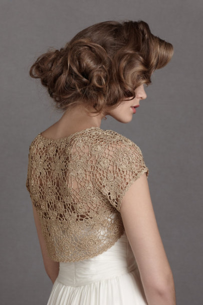 Harrison Morgan gold lurex Spun Gold Topper | BHLDN