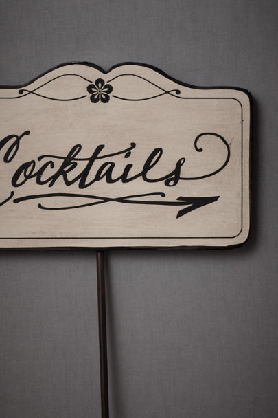 black & cream This-Way-To-The-Cocktails Sign | BHLDN