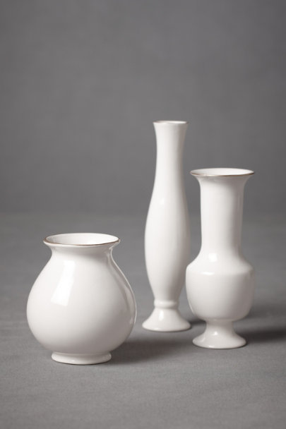White Stately Trio Vases (3) | BHLDN