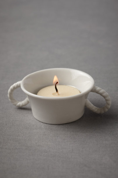 white Rope Handle Tealight Holders (4) | BHLDN