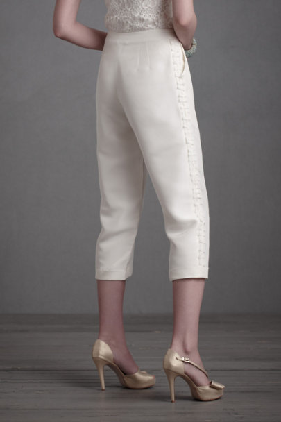 Buttercream Textured Tuxedo Pants | BHLDN