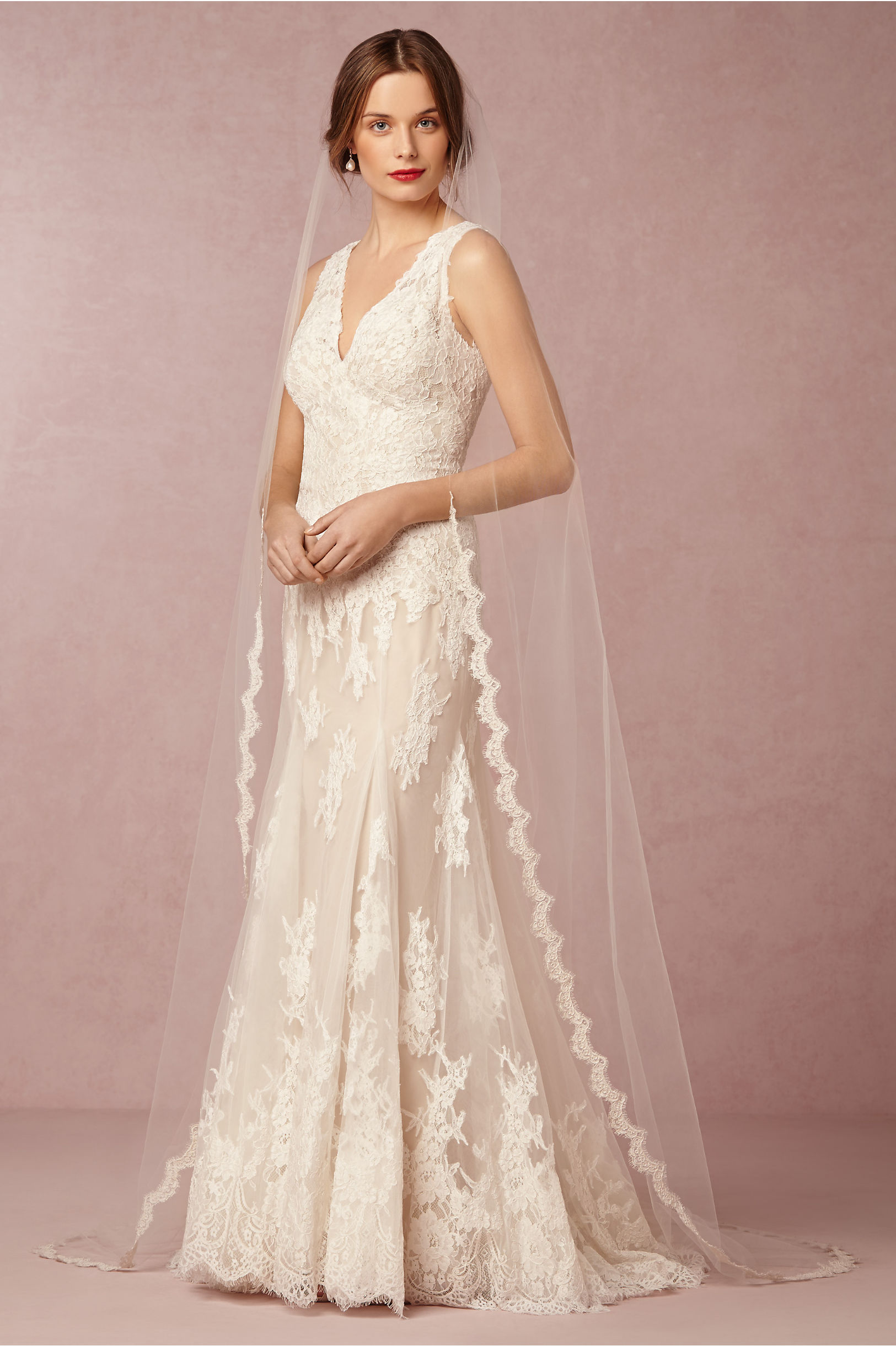 Scalloped Cathedral Veil Ivory in Shoes & Accessories | BHLDN