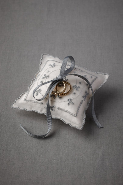 soft slate blue Blue Buds Ring Pillow | BHLDN