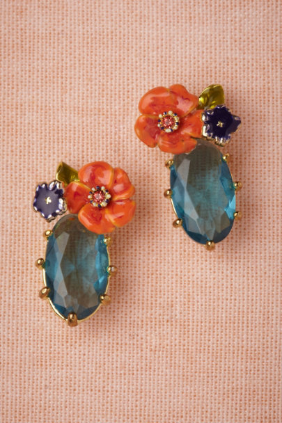blue motif Giverny Earrings | BHLDN