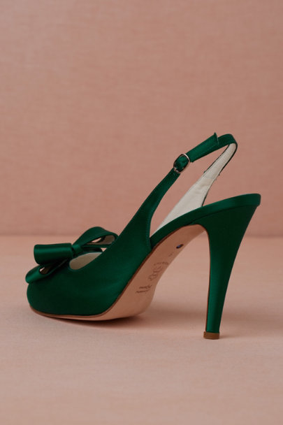 emerald Bow-Topped Slingbacks | BHLDN