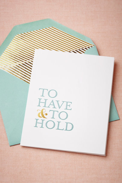 Sugar Paper turquoise To Have & To Hold Card | BHLDN
