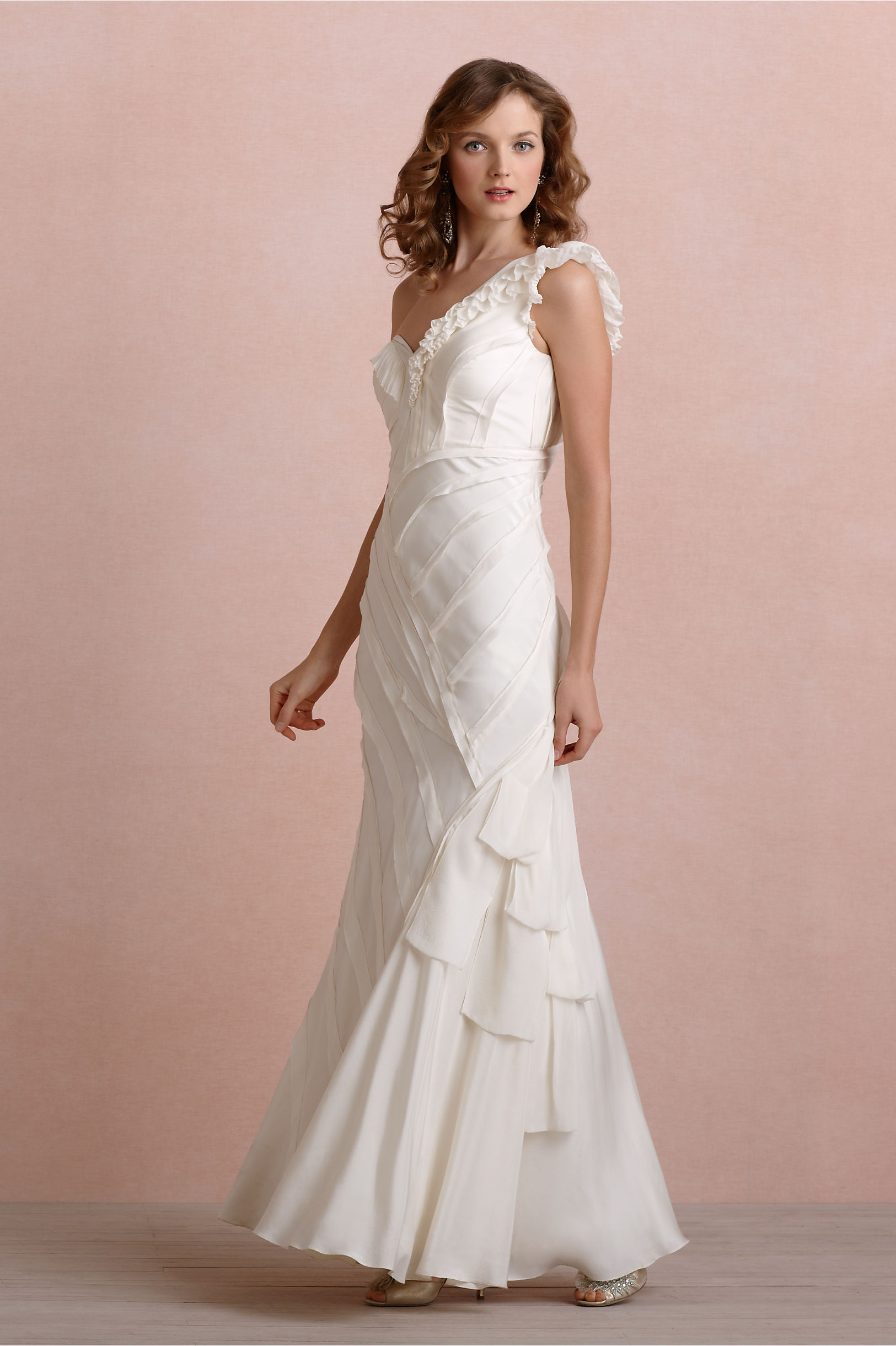 Ribboned Silk Gown in Bride | BHLDN