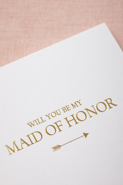 Sugar Paper gold To-The-Heart Maid of Honor Card | BHLDN