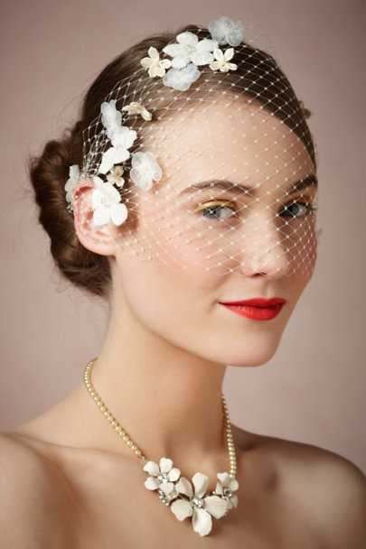Twigs & Honey ivory Scattered Blossoms Veil | BHLDN