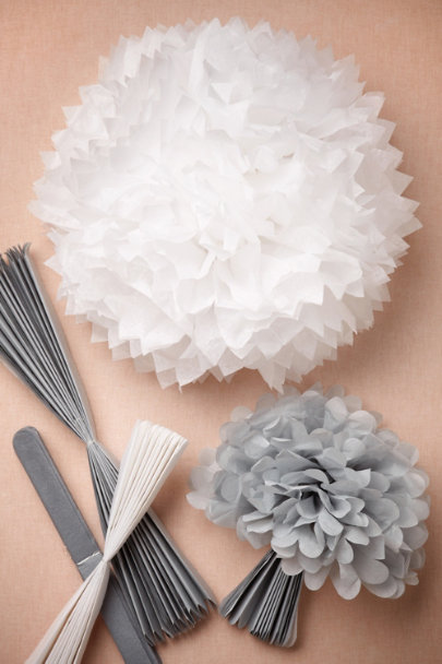 dove grey/white Papered Pom Set (5) | BHLDN