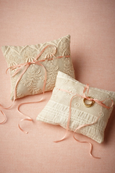 Ann Wood antique ivory Pedigree Ring Pillow | BHLDN