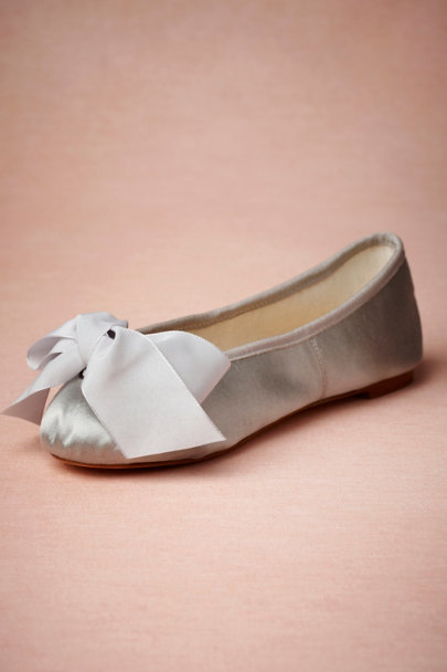 grey Satin Ballet Flats | BHLDN
