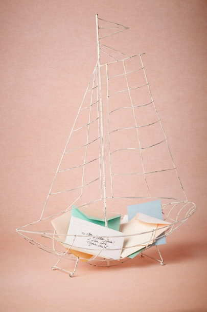 distressed white Sailboat Envelope Holder | BHLDN