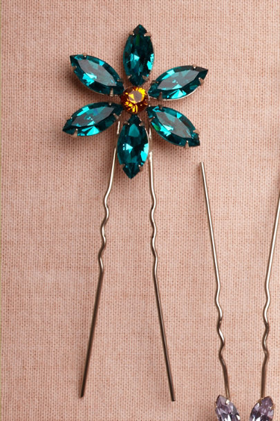 turquoise Large Wildflower Hairpins | BHLDN