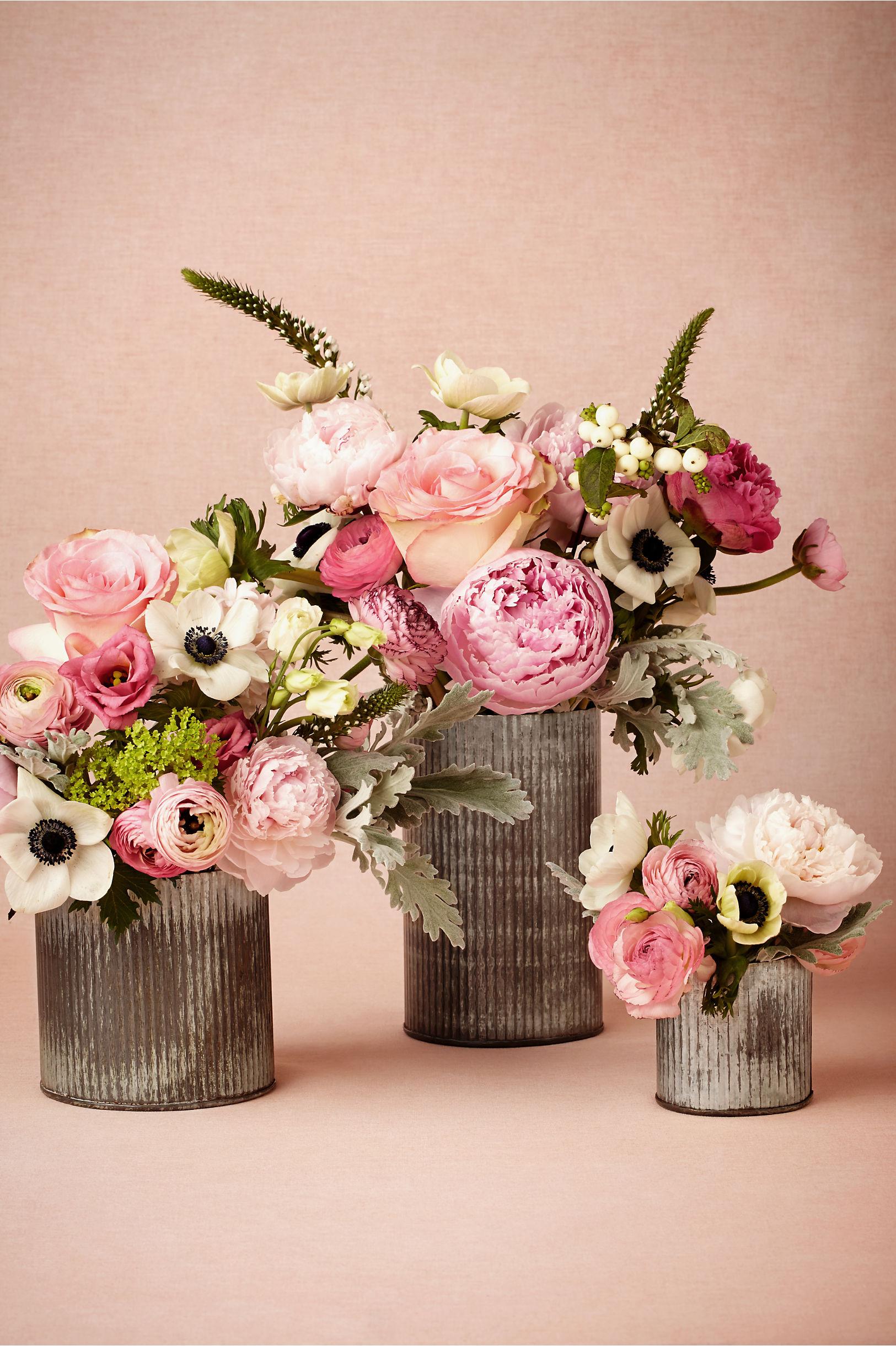 Distressed Silver Ridged Tin Vases
