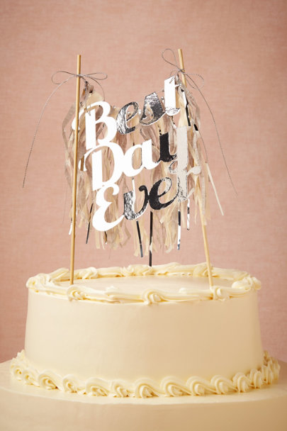 silver Best Day Ever Cake Topper | BHLDN