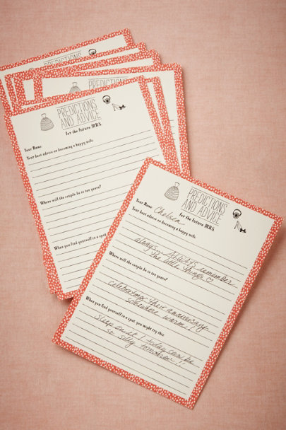 coral Bridal Shower Advice Cards (24) | BHLDN