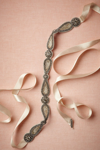 silver/soft platinum Damselfly Sash | BHLDN