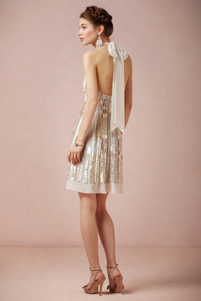 Ranna Gill nude metallic Twila Halter Dress | BHLDN