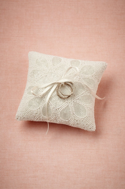 white Ice Drops Ring Pillow | BHLDN