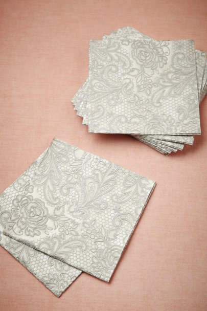 silver/ivory Chantilly Cocktail Napkins (15) | BHLDN