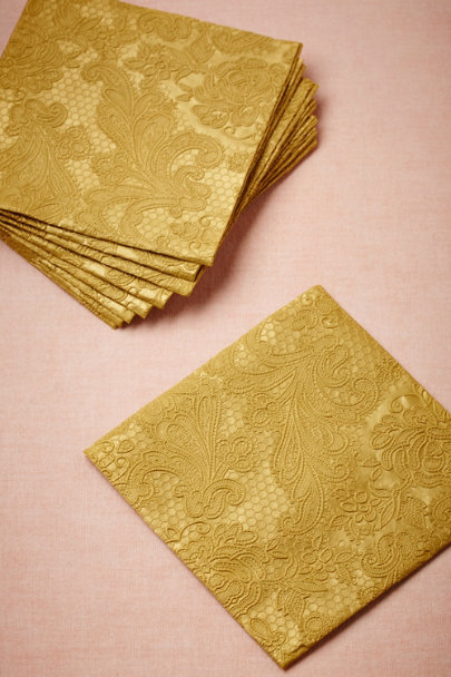 gold Chantilly Cocktail Napkins (15) | BHLDN