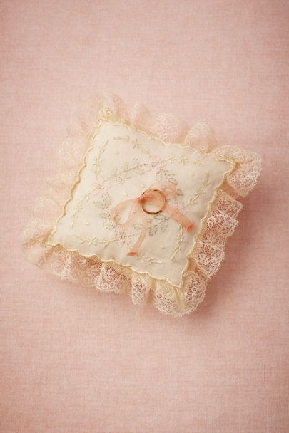 ivory/pink Antique Ring Pillow | BHLDN