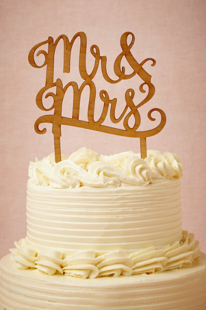 natural Mr. & Mrs. Cake Topper | BHLDN