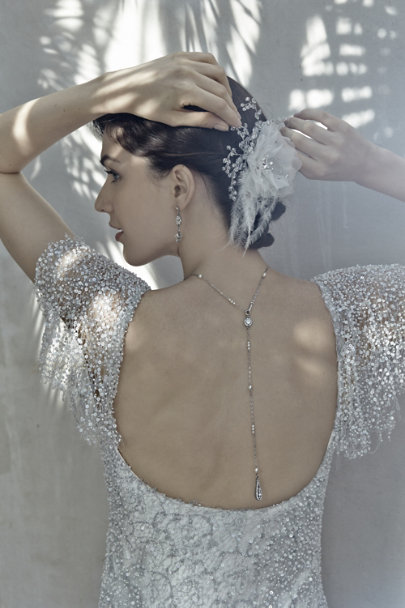 Ben-Amun Silver Pearly Back Drape Necklace | BHLDN