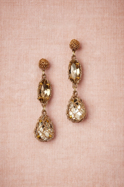 St. Erasmus Gold Demure Sparkle Earrings | BHLDN