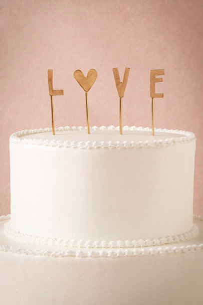 gold L-O-V-E Cake Topper | BHLDN