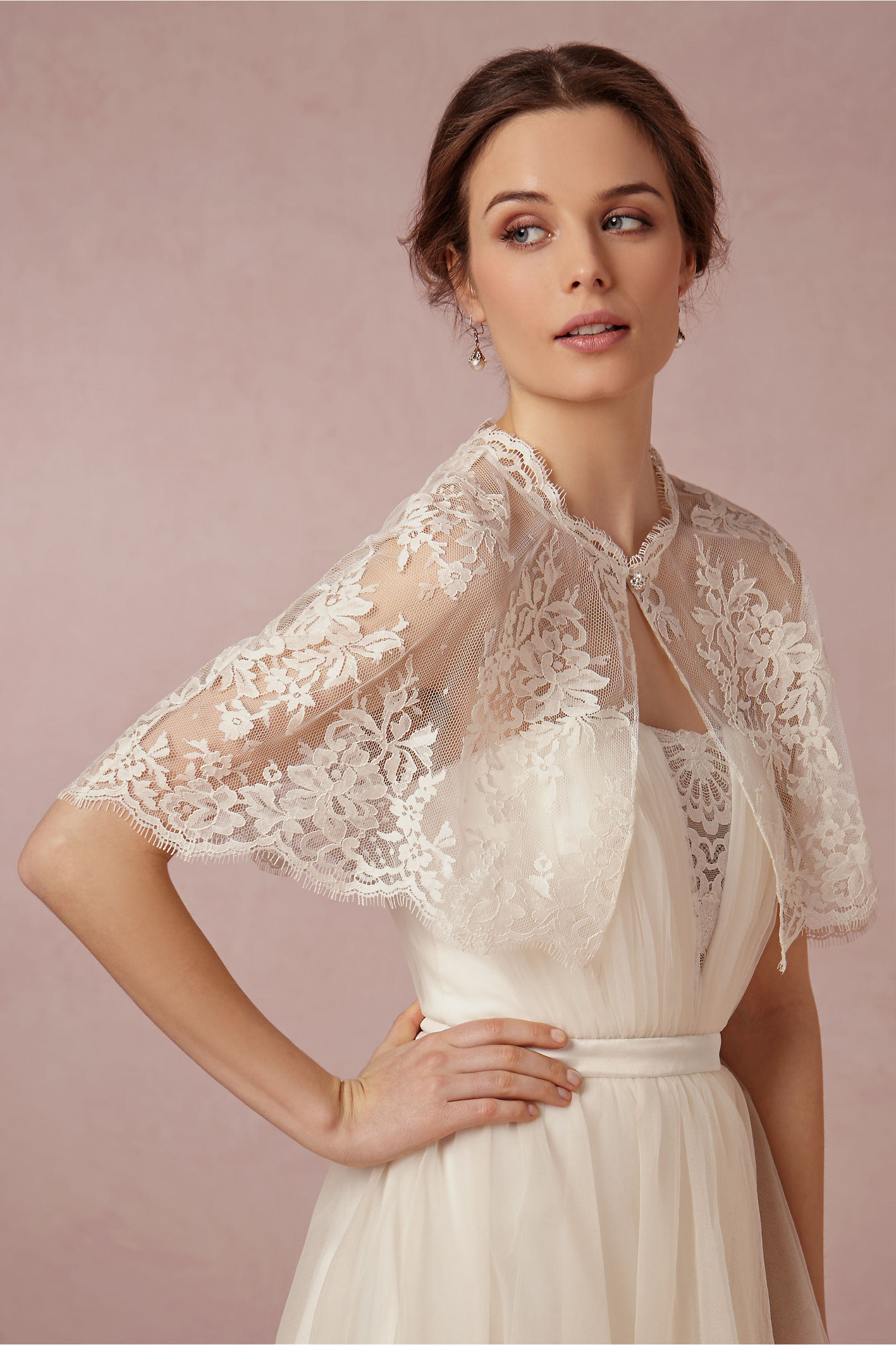 bridal earrings bhldn shop ivory cover chantilly wedding the bride zoom xl capelet dress ups in a