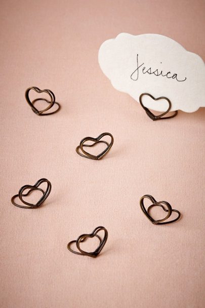 Brass Heart Place Card Holders (6) | BHLDN