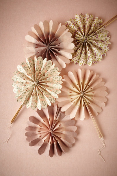 Blush & Lilac Motif Celebration Crinkle Fans (10) | BHLDN