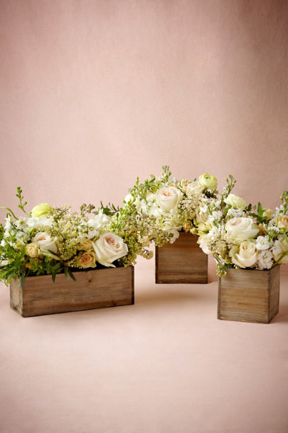Natural Wooden Box Planters  | BHLDN