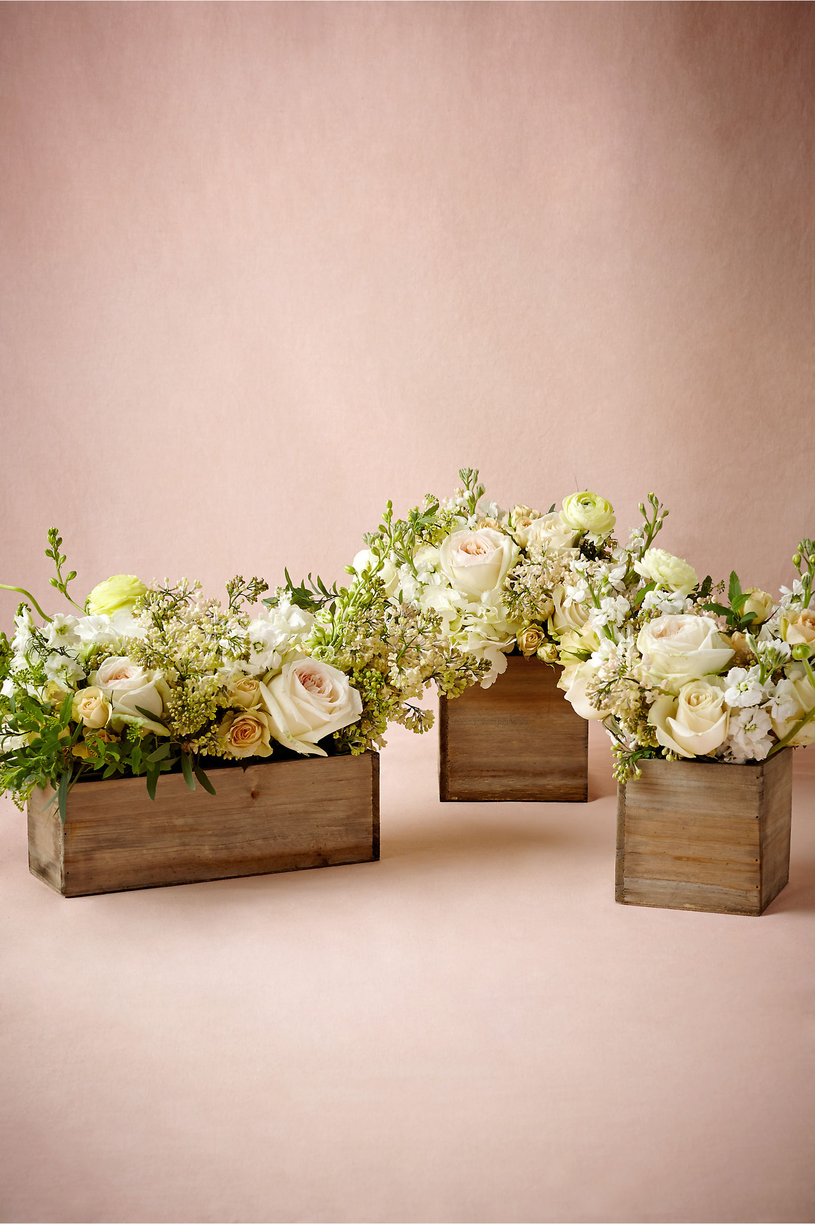 Natural Wooden Box Planters Bhldn
