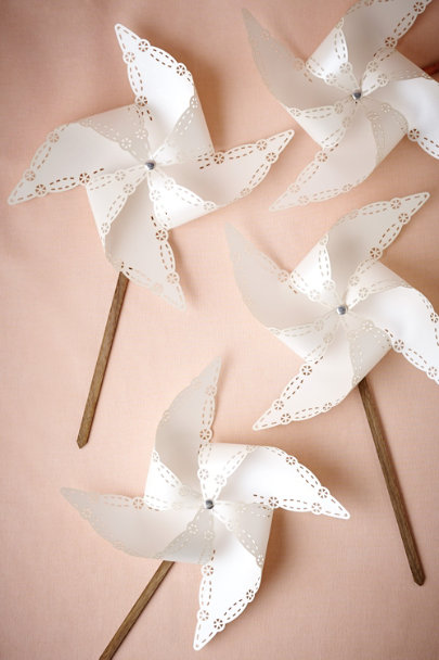 White and Natural Lasercut Pinwheels (4) | BHLDN
