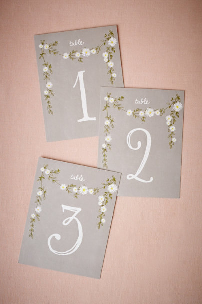 Grey Aster Table Numbers (5) | BHLDN