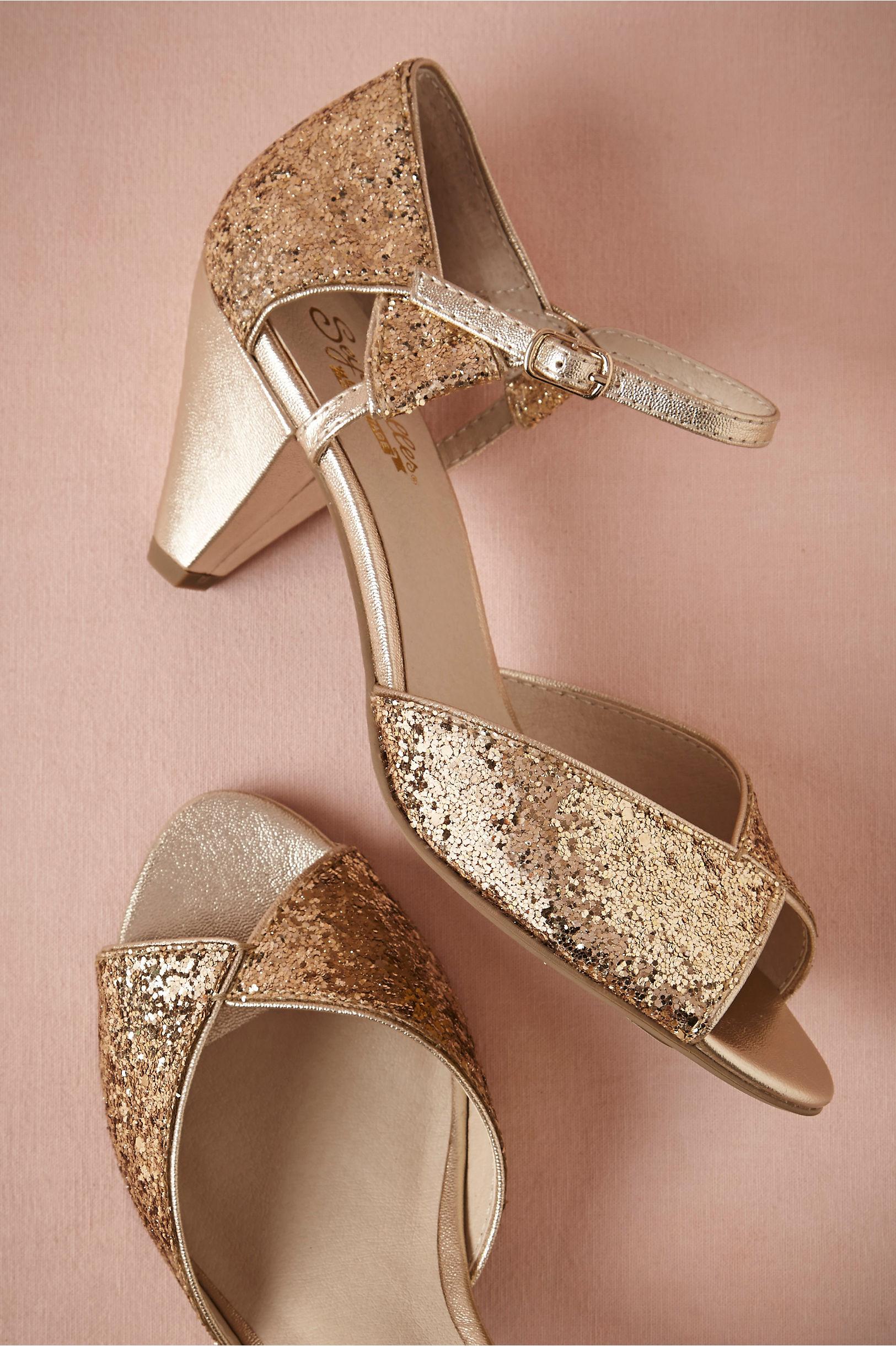 Gold Glittering Heels Bhldn