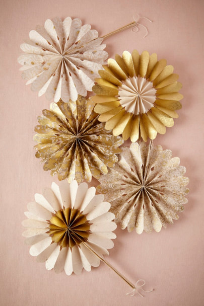 Gold Celebration Crinkle Fans (10) | BHLDN