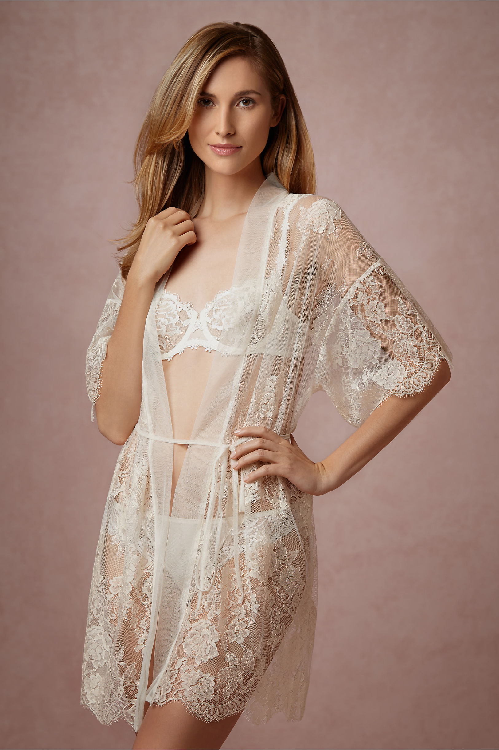 Mae Chantilly Lace Robe in New & Noteworthy | BHLDN