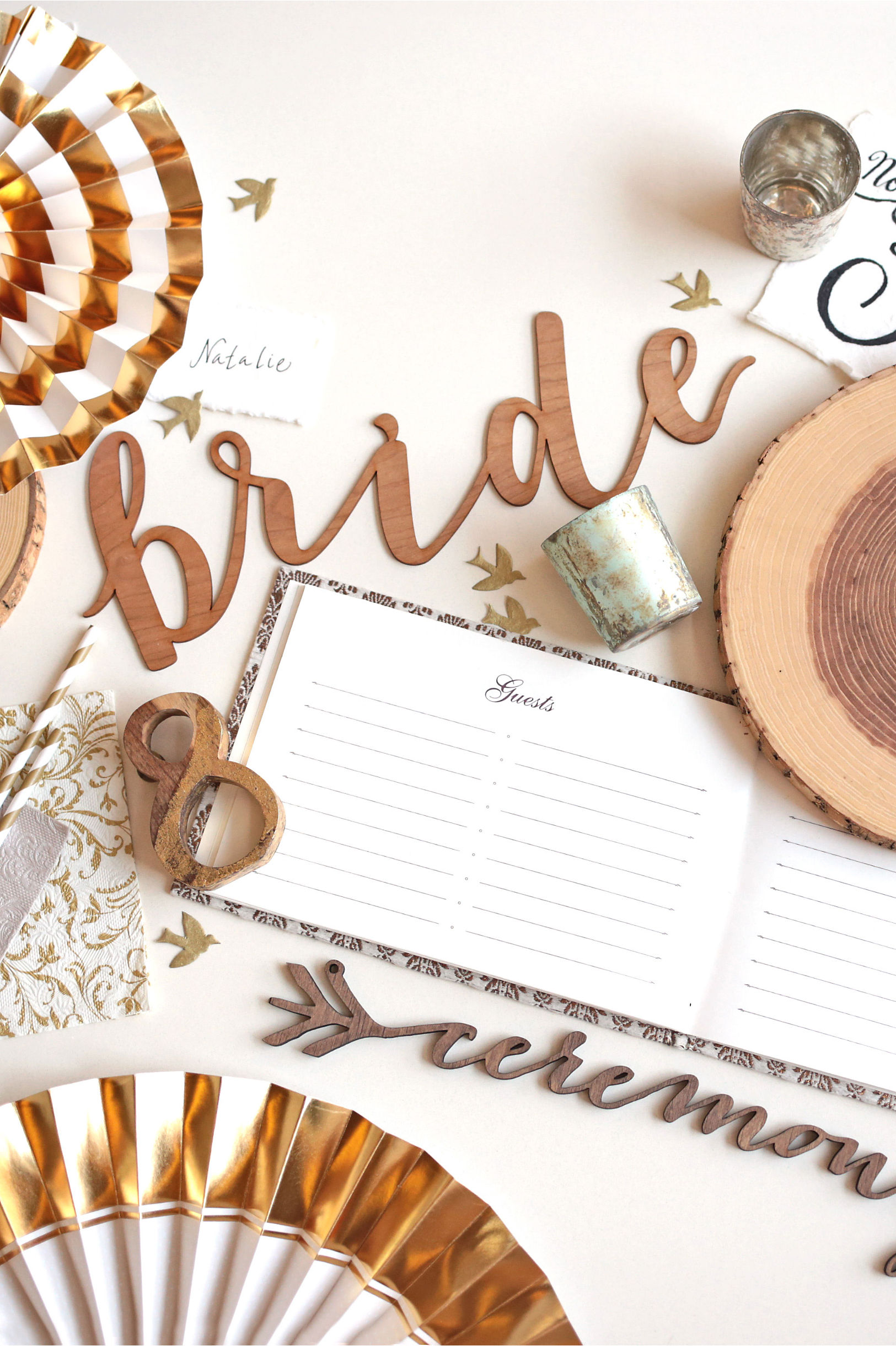 Gold Teak Wood Table Numbers wood/gold in Sale | BHLDN