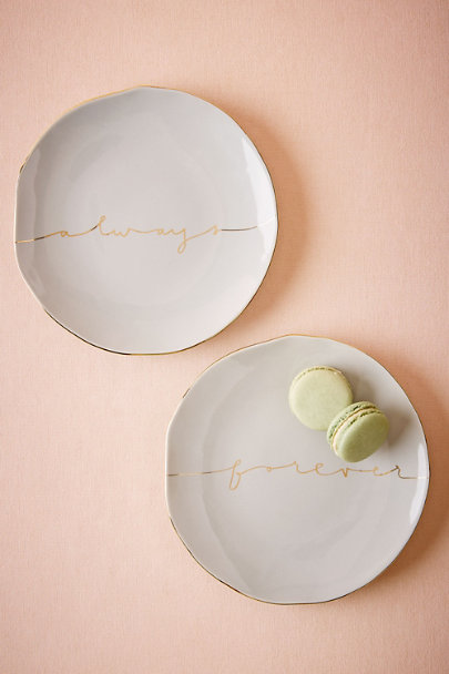 Always/Forever Scripted Dessert Plates (2) | BHLDN