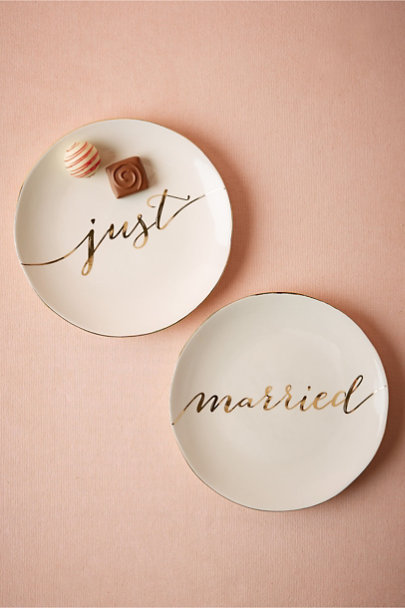 White/Gold Scripted Dessert Plates (2) | BHLDN