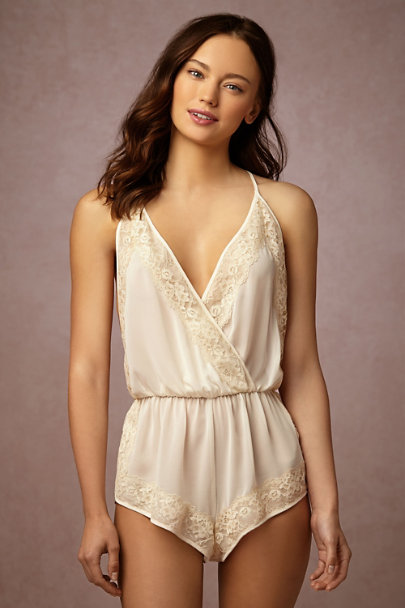 Flora Nikrooz Candlelight Alabaster Lace Romper | BHLDN
